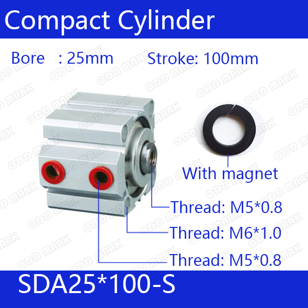 SDA25*100-S Free shipping 25mm Bore 100mm Stroke Compact Air Cylinders SDA25X100-S Dual Action Air Pneumatic Cylinder, Magnet sda100 30 free shipping 100mm bore 30mm stroke compact air cylinders sda100x30 dual action air pneumatic cylinder
