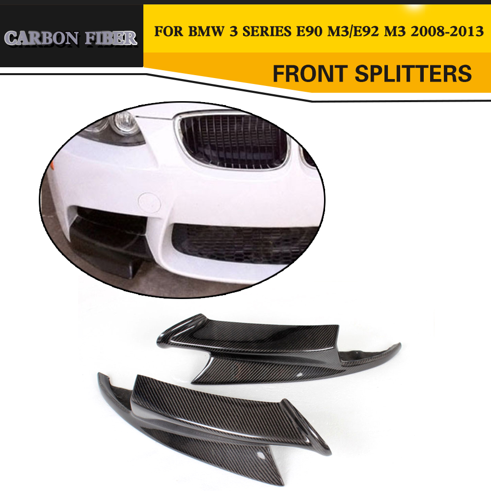 Carbon Fiber Car Front Splitters Lip Apron For BMW E90 Sedan E92 Coupe E93 Convertible M3 08-14 g t style carbon fiber front lip spoiler fit for bmw e90 e92 e93 m3
