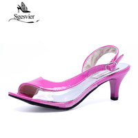 Big Size 34 43 Fashion Transparent Neon Sandals For Women Heel Ladies Dress Causal Shoes Open