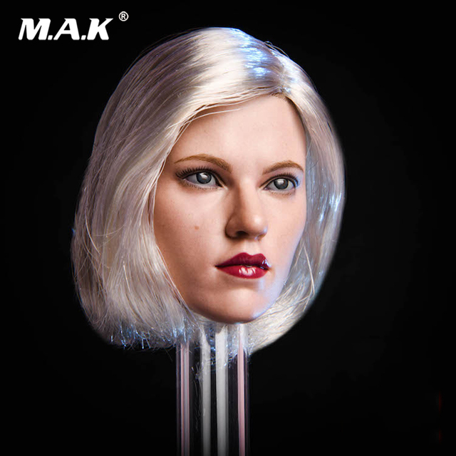"1/6 Female Head Accessory Suntan Warrior Natasha Scarlett Johansson Black Widow Head Sculpt With Silver Hair Fit 12"" Figure Body"