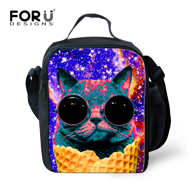 FORUDESIGNS Cute Glasses Cat Lunch Bag for Women Insulated School Girls Kids Lunch Bag Unique Children Shoulder Picnic Food Bag ...