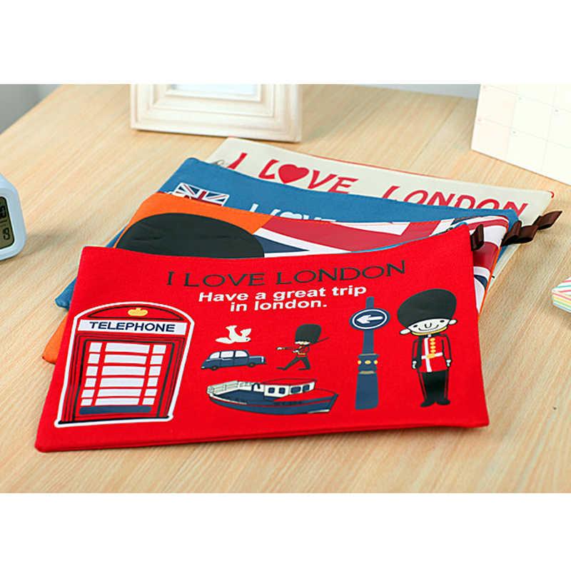 A4 File Folder Cartoon Document File Bag New British London Soldiers Bus Folder Paper Storage Organizer Stationery School Supply
