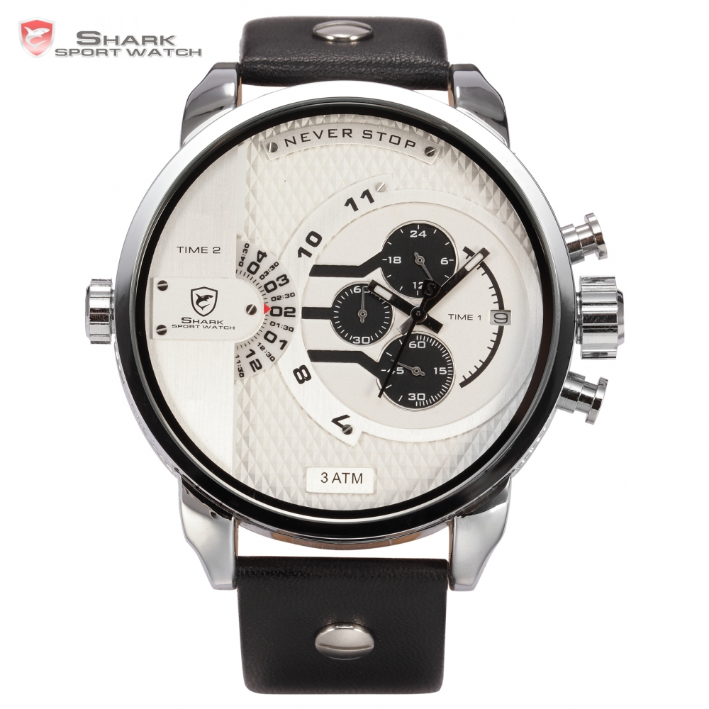 Prix pour Boîte en cuir de luxe baleine shark sport montre blanc grand cadran chronomètre wrap grand cas en cuir bande hommes militaire quartz montres/sh163