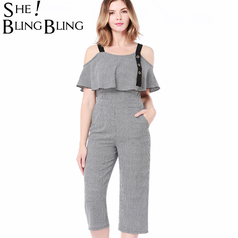 SheBlingBling Women Party Striped Pockets Pants Ruffles Bodysuits Rompers Ladies Beach Cotton Linen Spaghetti Strap Jumpsuits