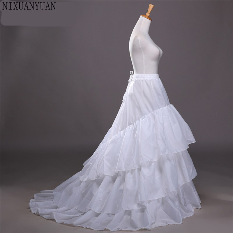Wedding Petticoat Jupon Court Train Crinoline Slip Underskirt for A-line Wedding Dress 3 Layers Wedding Accessoires