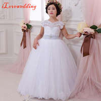 iLoveWedding Lace Flower Girl Dress for Weddings First Communion Dresses for Girls Lace up Back Ball Gown Custom Made Plus Size
