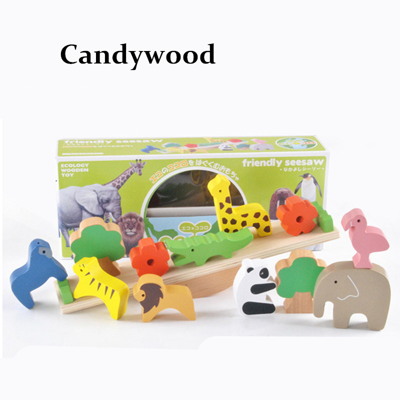 Montessori Wooden Toys Forest Animal Seesaw Balance Blocks Educational toy Balance Building Blocks Stacking Early Learning Toy цена