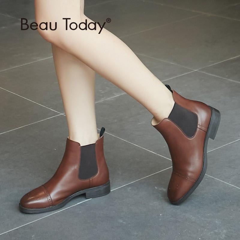 بوتوداي تشيلسي الأحذية امرأة جودة العلامة التجارية التمهيد نصف البروغ جلد العجل جلد طبيعي الكاحل طول مطاطا أحذية اليدوية 03040