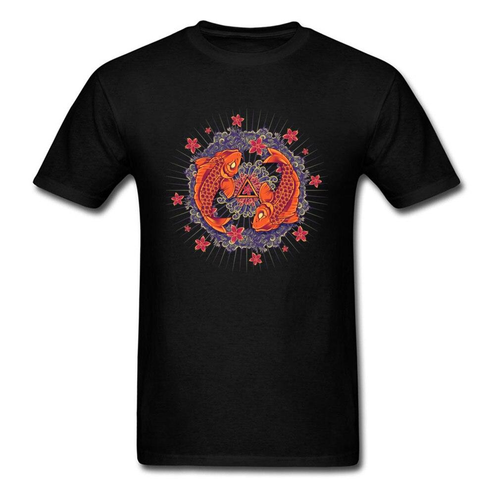 Koi Mandala T Shirt Men's High Quality Natural Cotton Graphic Tee Shirts Custom Mandala Buddha Tshirt Best Gift Tees
