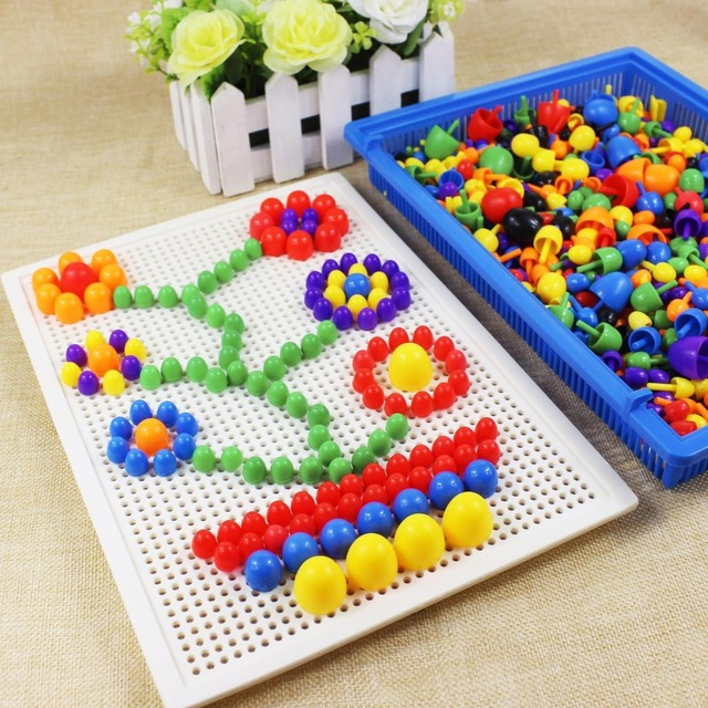 350 pcs/set  Hot sale Plastic Nails Children Variety 3D stereoscopic puzzle Multifunctional Educational toys Best Kids Gifts