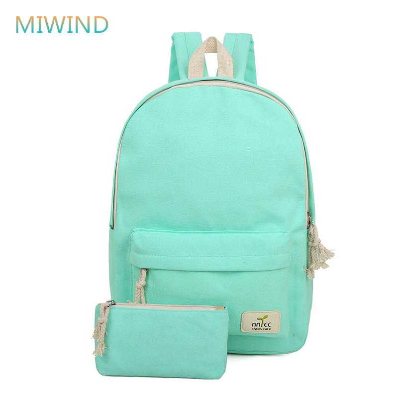 MIWIND 2017 Solid Color Women Backpack High Quality Cute Canvas Backpack Female School Bags For Teenagers Mochila Escolar CB206 whosale women backpack for school teenagers girls vintage stylish ladies bag backpack female retro canvas bags high quality