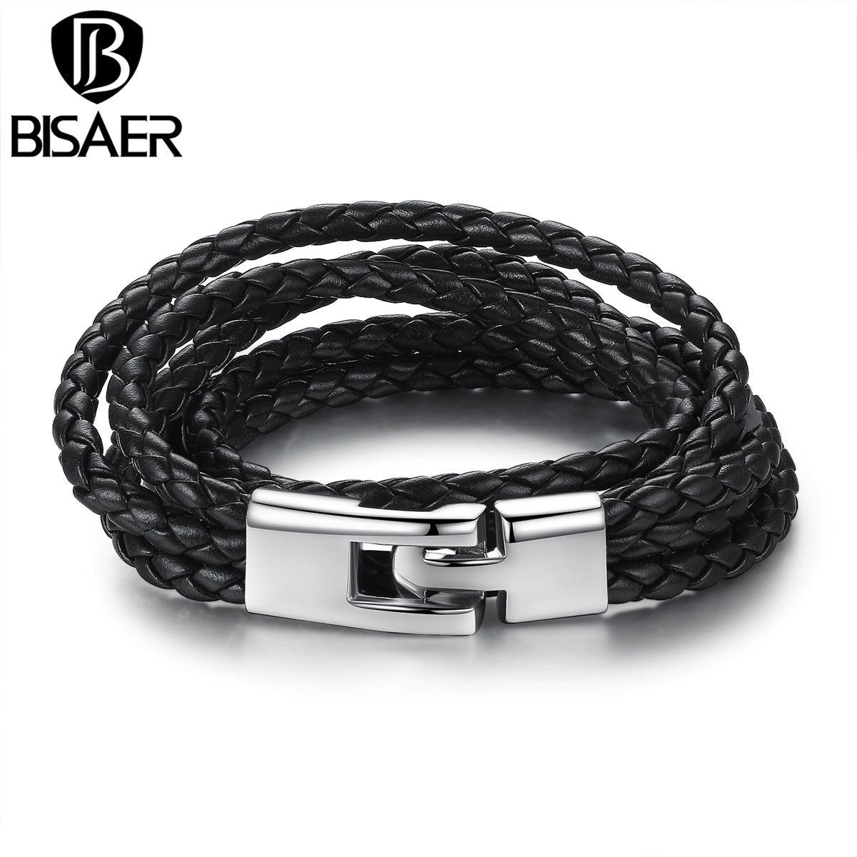Bisaer Мода кожаный браслет широкий Ретро черный и коричневый Цвет цепи Браслеты для Для мужчин и Для женщин ювелирные браслеты WEV0288