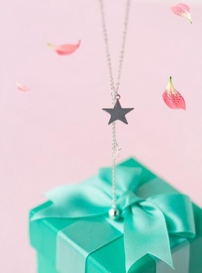Real. 925 Sterling Silver Jewelry Lariat Naszyjnik z Double Star i - Wykwintna biżuteria - Zdjęcie 3