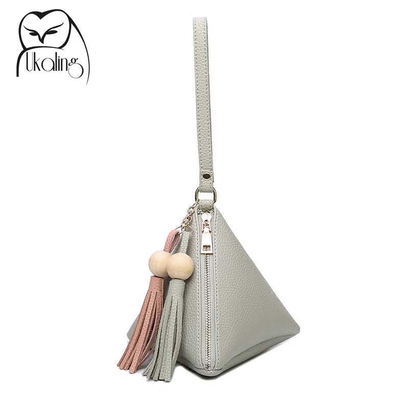 UKQLING Mini Triangle Women Clutch Purse Hand Bag Wristlets Strap Small Women Bag Lady Clutches Casual Phone Package 3 Colors cardamom clutches women fashion solid colors shape of hobos zipper soft cow leather casual small clutches cell phone pocket