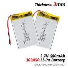 1/2/4x 3.7V 600mAh 303450 Lithium Battery 3.7 Volt Li-polymer Lipo Bateria For Remote Control Headphone  Mini Camera LED Light