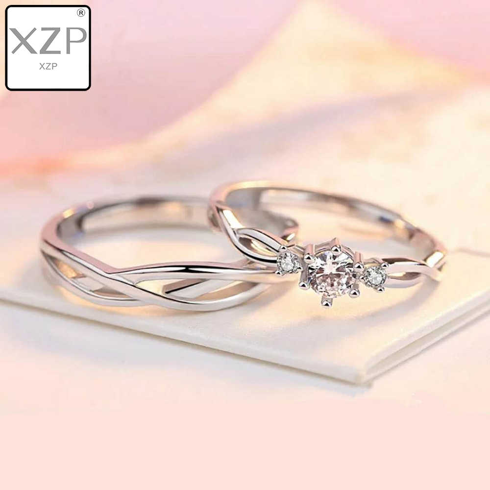 XZP S925 Zircon Adjustable Ring Hollow Endless Love Lovers Couples Rings for Women Men Engagement Wedding Jewelry Gifts