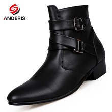 2016 New Men's Ankle Boots Male Fashion buckle Pointed Toe Martin Boots Mens pu Leather high heel chelsea boots Men oxford shoes