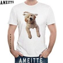 deb66eb518 AMEITTE C Golden Retriever Print T-Shirt Simple Style Men's Short Sleeve  Summer Boy Casual Tees Funny Dog Design Man Tops