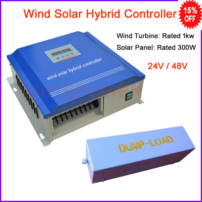 1000 W Max vent/solaire contrôleur de charge hybride pour moulin à vent 1000 w et panneau solaire 300 W, contrôleur de charge de batterie 24 v 48 v