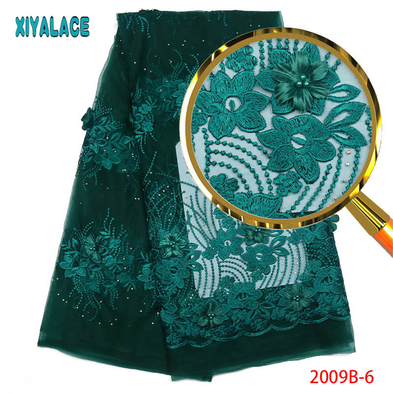 Latest African Laces 2019 Teal Lace Fabric 3D Nigerian French Lace Fabrics High Quality French Lace