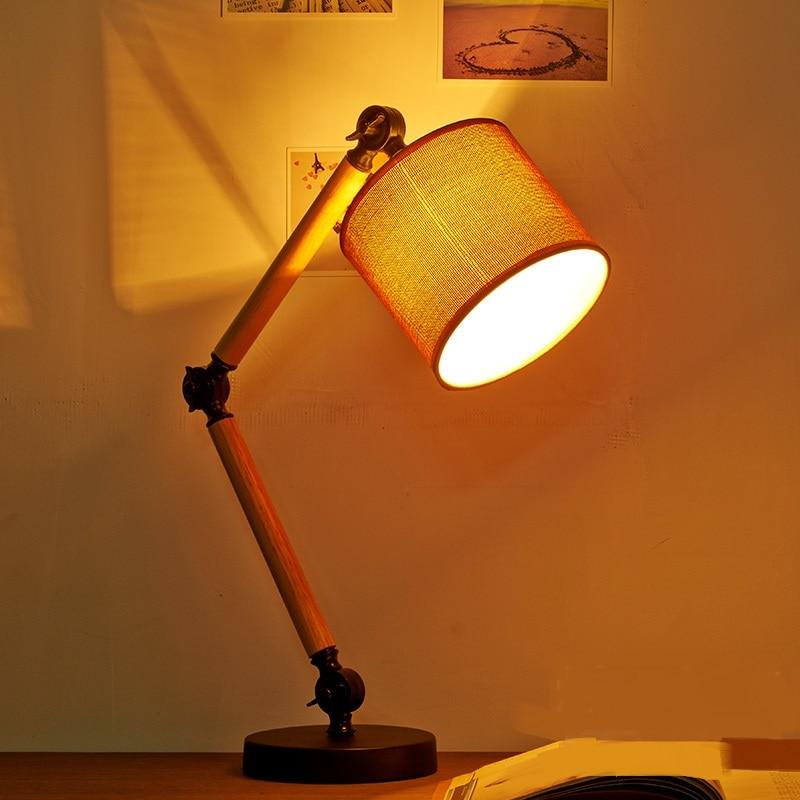 לופט עץ מחקר אישיות יצירתית מנורות שולחן מנורת שולחן קריאת האמריקאי המקורי פשתן שליד המיטה חדר שינה מעץ-במנורות שולחן מתוך פנסים ותאורה באתר light xian dai Store