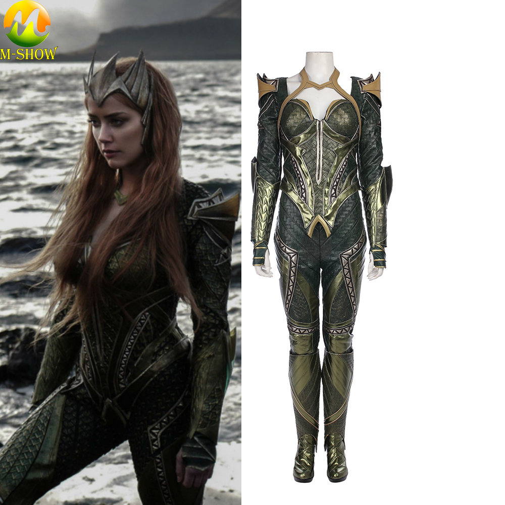 Justice League Cosplay Costume Mera Cosplay Costume Women Leather Cosplay Full Set For Halloween Custom Made