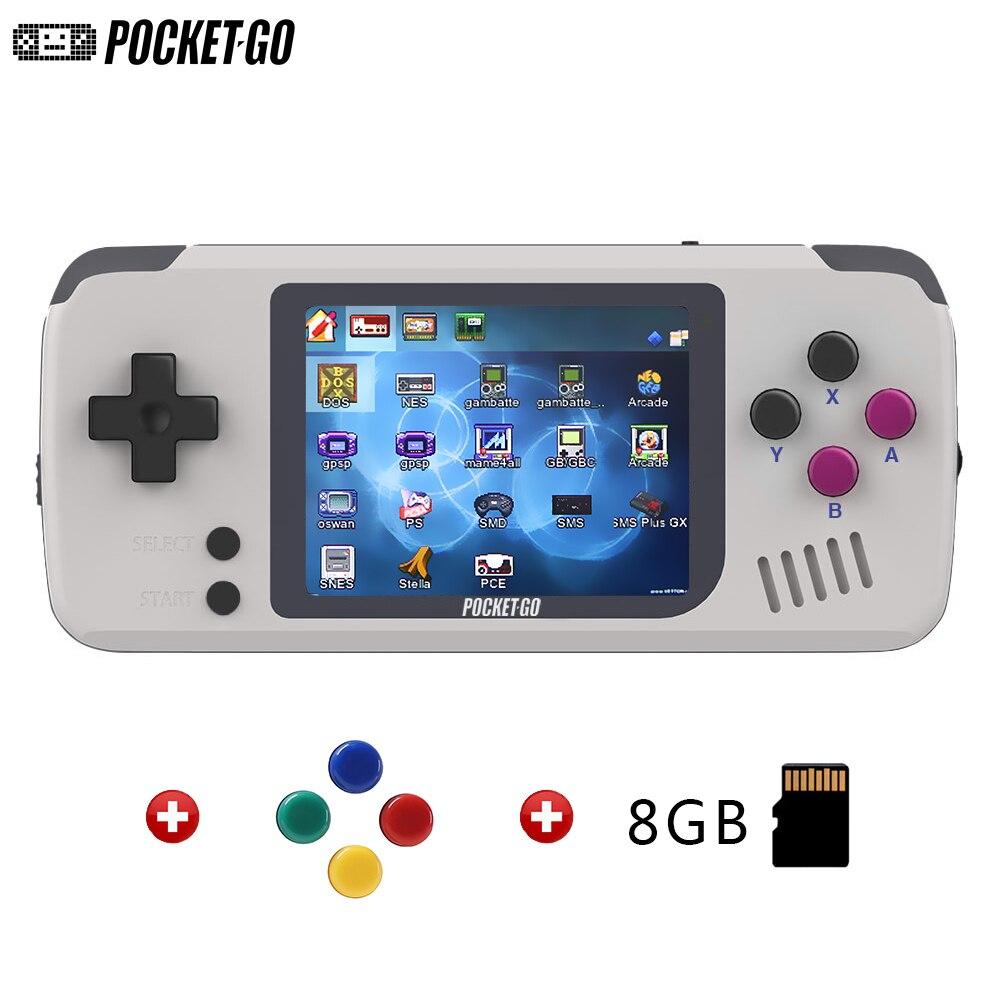 PocketGo, écran 2.4 pouces IPS Mini jeu rétro portable, Open-source avec console de jeu de cartes mémoire externe 8 go