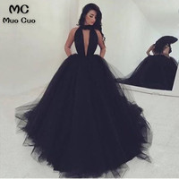 Elegant 2018 Black Ball Gown Evening Prom Dresses Long Tulle Halter Backless Tulle Formal Evening Party Dress Custom Made
