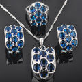 Unique Blue Stone Women's 925 Sterling Silver Jewelry Sets Earrings/Pendant/Necklace/Rings Free Shipping QZ025