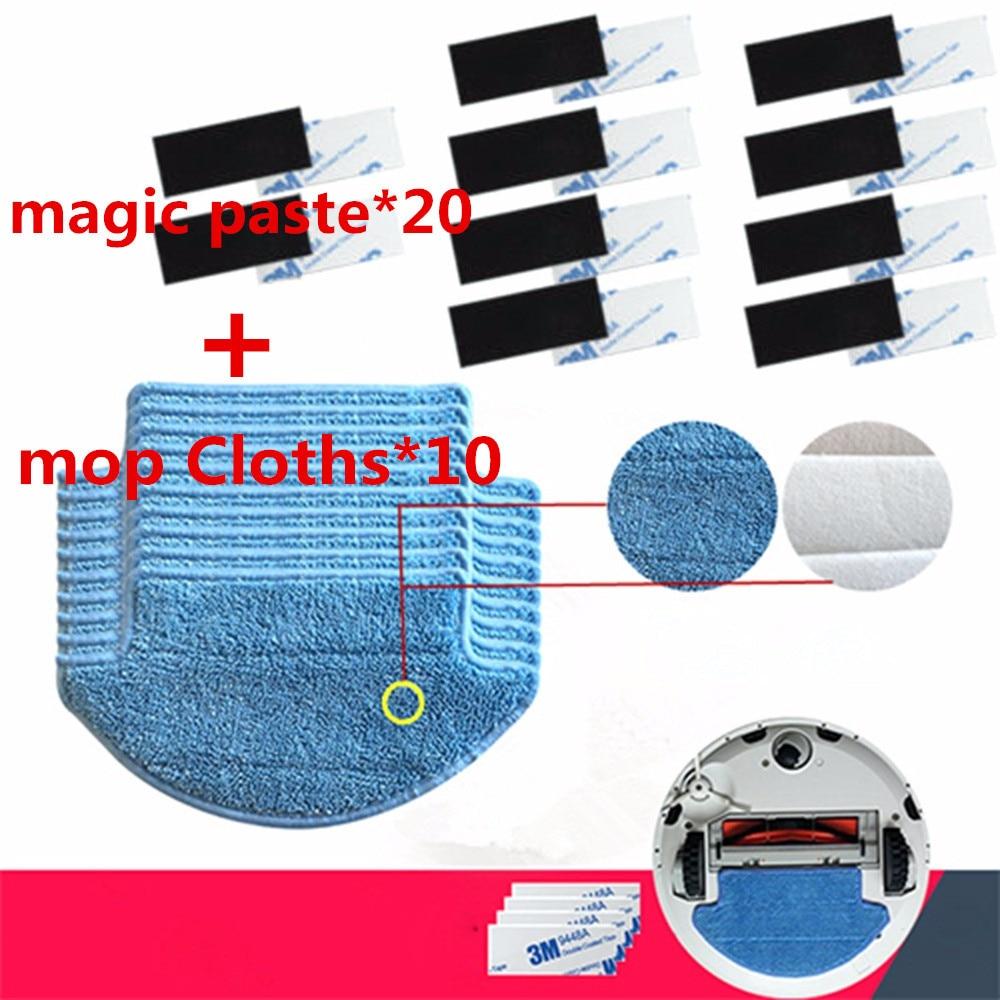 все цены на 30pcs/lot Original thickness Xiaomi Mi Robot Vacuum Cleaner mop Cloths Parts kit ( mop Cloths*10+magic paste*20) aspirador онлайн