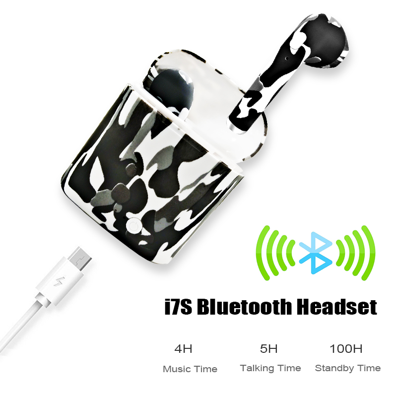 M&J I7S TWS Camo Earbuds Wireless Bluetooth Double Earphones All Bluetooth Mobile 3