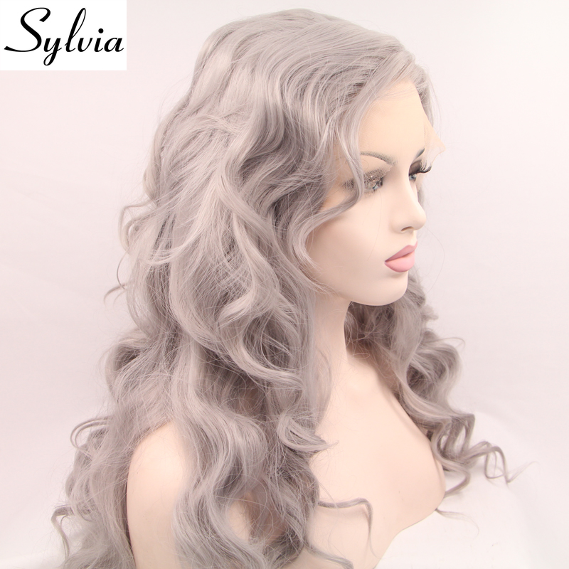 Sylvia silver grey body wave heat resistant fiber hair natural grey glueless synthetic lace front wigs for white woman