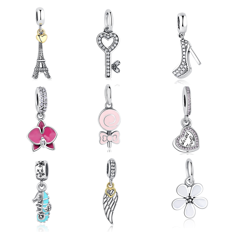 Genuine 100% 925 Sterling Silver Beads Dangle Fit Pandora Charm Bracelets Fashion DIY Jewelry Mother Gift