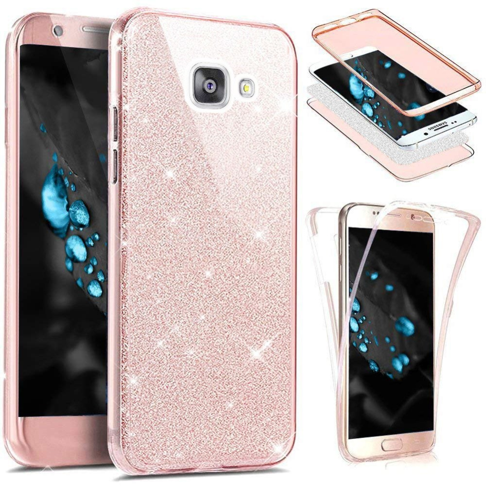 360 Full Protection Glitter Silicone Case for Coque Samsung Galaxy A3 A5 A7 2017 A6 A8 Plus 2018 S6 S7 S8 S9 Note 9 8 S10 Funda image