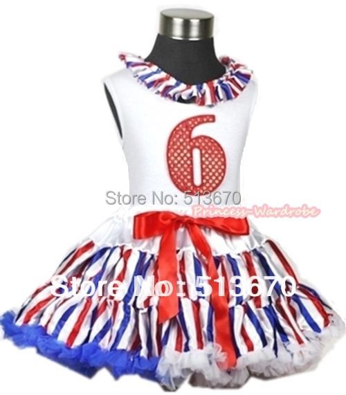 White Tank Top With Red White Blue Stripe Lacing & 6th Sparkle Red Birthday Number Red White Blue Stripe Pettiskirt MAMG619 xmas white tank top 2nd sparkle red birthday number with red snowflakes ruffles