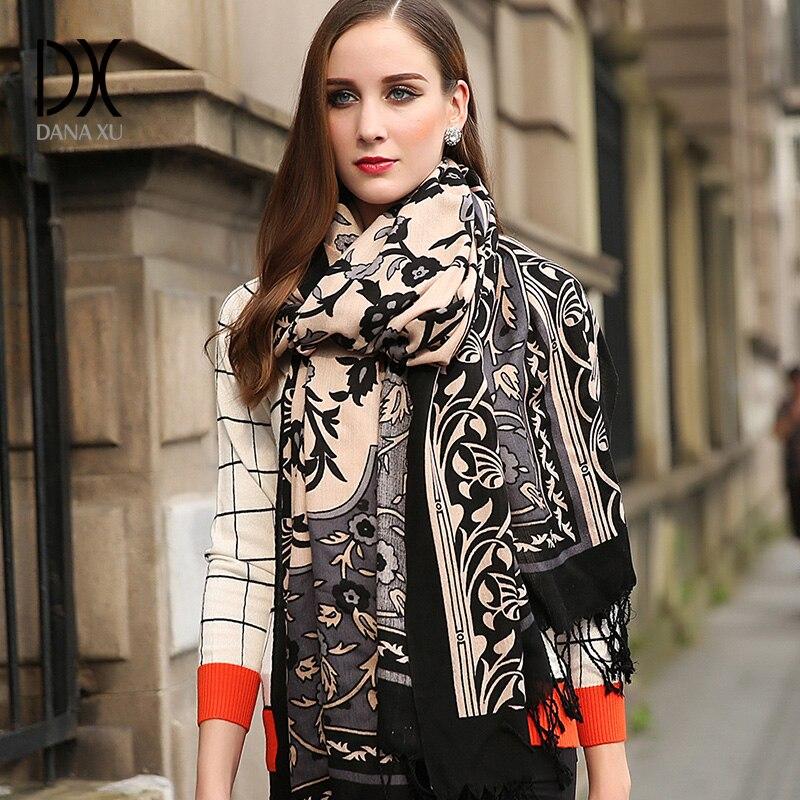 Зимний шарф 2019 Женский кашемировый шарф плед одеяло шарф новый дизайнер шерсть и шелк основной платки Для женщин шарфы лица щит