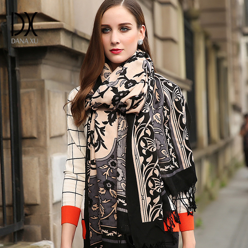 Winter Scarf 2017 Cashmere Scarf Women Plaid Blanket Scarf New Designer Wool and Silk Basic Shawls