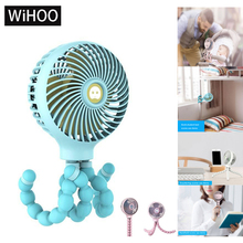 WiHoo Entangle Baby Stroller Fan For Baby With Switch Anti-Touch Function 3 Speed Rechargeable Battery USB Student  Fan