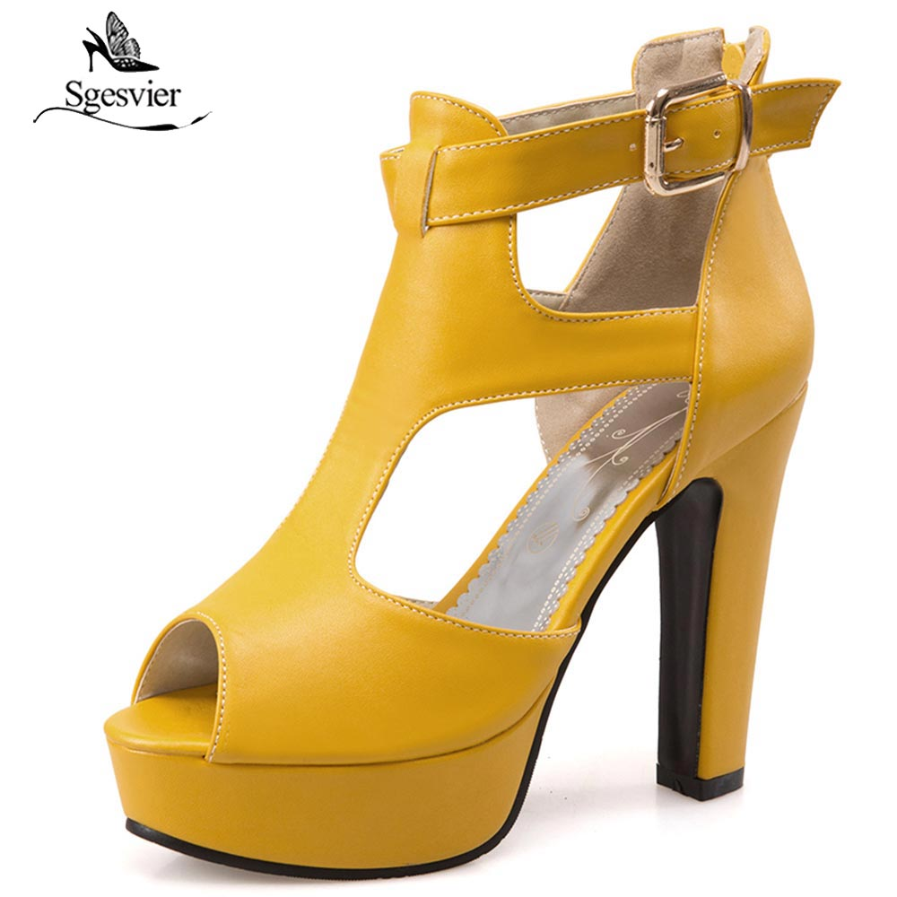 SGESVIER Women Sandals Peep Toe Summer Shoes Thick High Heels T-strap Buckle Strap Party Shoes Woman Plus Size 34-50 OX377SGESVIER Women Sandals Peep Toe Summer Shoes Thick High Heels T-strap Buckle Strap Party Shoes Woman Plus Size 34-50 OX377