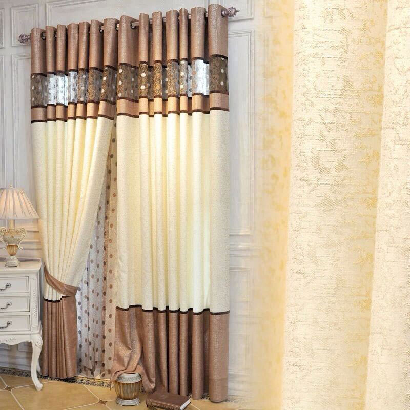 1P CHigh Quality Luxury Curtains Bedroom Kitchen Curtains Living Room  Modern Lace Stitching Cortinas Fabric Curtains