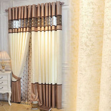 1P CHigh Quality Luxury Curtains Bedroom Kitchen  Curtains Living Room Modern Lace Stitching Cortinas Fabric Curtains   0112