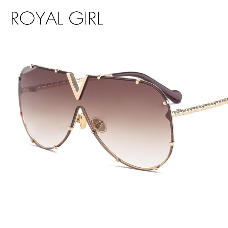00a2b60c1 MENINA REAL de Moda óculos de Sol Das Mulheres Dos Homens Marca de Design  de Metal Quadro Personalidade de Grandes Dimensões de Alta Qualidade Óculos  de Sol ...