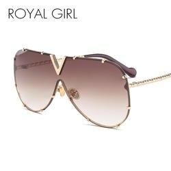 Королевский Девушка Модные солнцезащитные очки Для мужчин Для женщин бренд дизайн металлический каркас негабаритных личности высокое