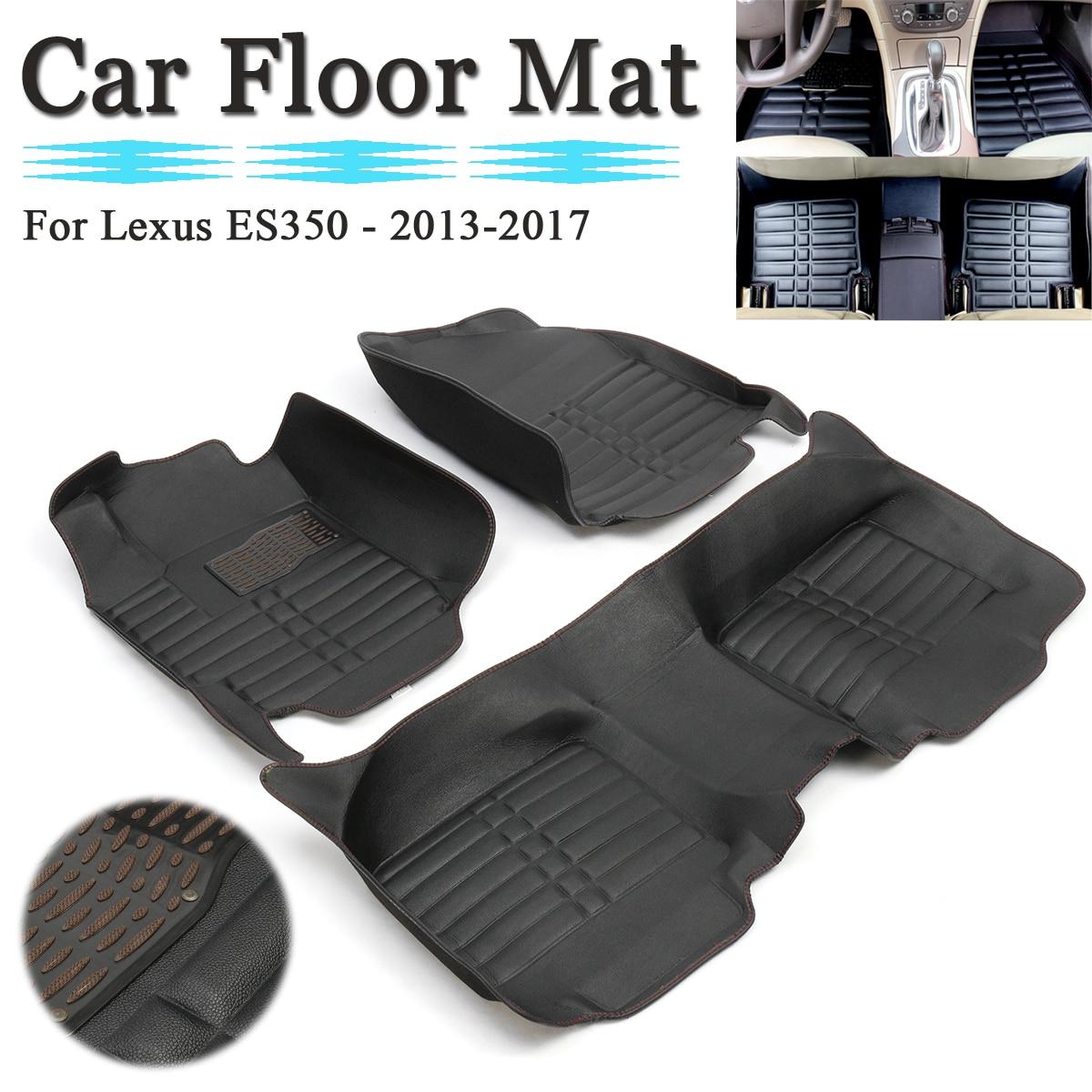 2013 Lexus Es Interior: 3Pcs Black Leather Waterproof Car Floor Mats Carpet Liner