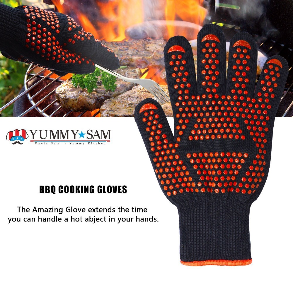 Free shipping High performance Heat resistant glove BBQ glove Protecting hand from fire heat up 932F 1 pair free shipping aramid fire insulation gloves heat resistant glove 932f bbq glove oven kitchen glove direct supply