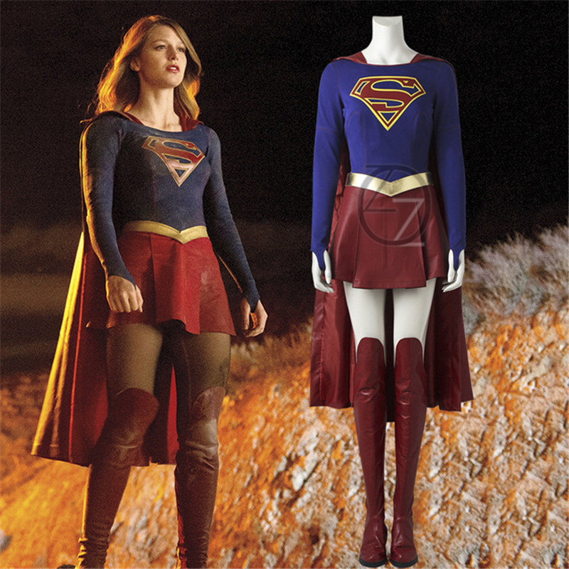 Supergirl Cosplay Costume Outfit Movie Superhero Halloween Women Adult Kara Zor El Danvers Costume Custom Made With Boots