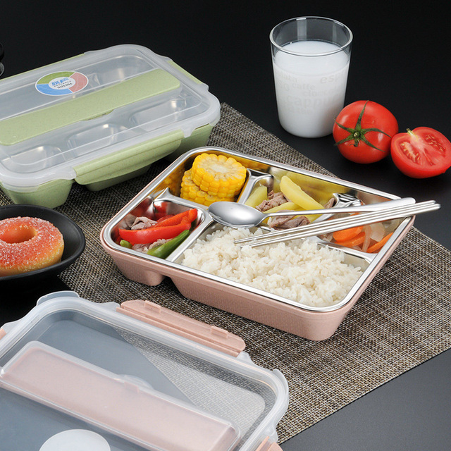 Portable 4/5 Layer 304 Stainless steel  Lunch Box For Kids With Compartments  Microwave Food Heat Picnic Office School Bento Box