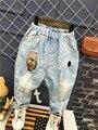 Весна осень Мальчиков брюки джинсы 2017 Модные Мальчики Джинсы для Весна Осень Дети Джинсовые Брюки для Детей голубой Разработан брюки