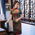 Free Shipping Vintage Qipao Chinese Women's Clothing Top Quality Short Sleeve Cheongsam Dress Floral Qipao For Woman