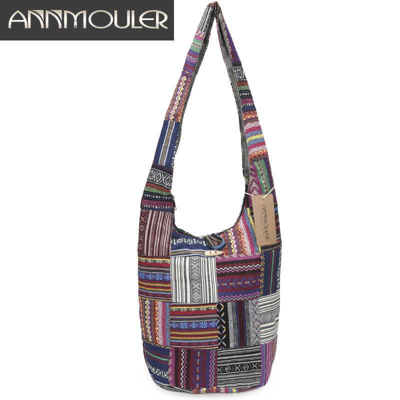 Annmouler Women Large Shoulder Bag Cotton Messenger Bag Vintage Patchwork Crossbody Bag For Ladies Zipper Hobo Bag With Buckle